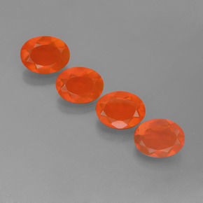 Orange Fire Opal Gem - 0.6ct Oval Facet (ID: 454027)
