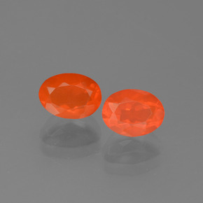 Orange Fire Opal Gem - 0.6ct Oval Facet (ID: 454107)