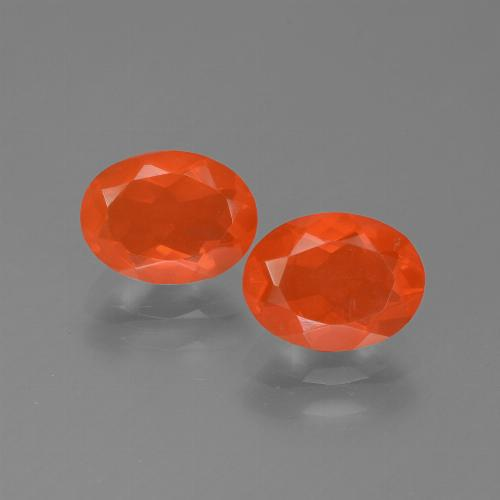 Orange Fire Opal Gem - 0.8ct Oval Facet (ID: 454111)