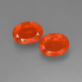 Orange Fire Opal Gem - 0.7ct Oval Facet (ID: 454177)