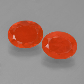 Orange Red Fire Opal Gem - 0.9ct Oval Facet (ID: 454300)