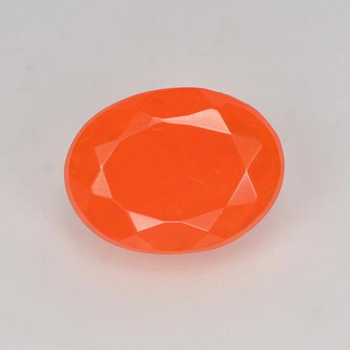 0.6ct Oval Facet Deep Reddish Orange Fire Opal Gem (ID: 524652)