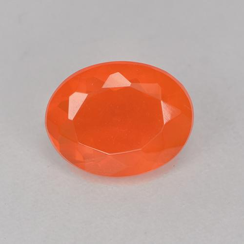 0.6ct Oval Facet Deep Reddish Orange Fire Opal Gem (ID: 525562)