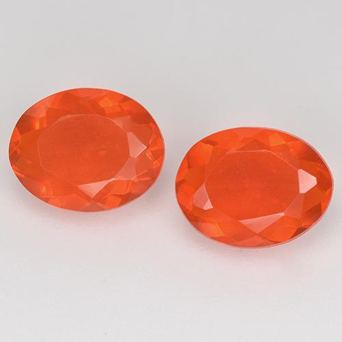 Orange Fire Opal Gem - 0.8ct Oval Facet (ID: 525669)