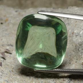 thumb image of 36.6ct Cushion Shape Sugarloaf Cabochon Green Fluorite (ID: 472706)