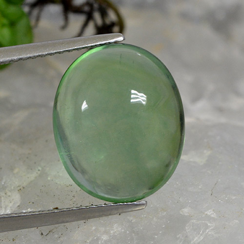 Green Fluorite Gem - 9.8ct Oval Cabochon (ID: 493926)