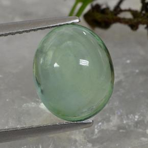 Green Fluorite Gem - 5ct Oval Cabochon (ID: 493927)