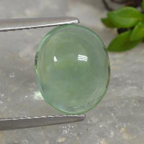 Light Green Fluorite Gem - 4.1ct Oval Cabochon (ID: 493931)