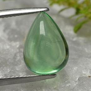 Green Fluorite Gem - 6.5ct Pear Cabochon (ID: 496992)