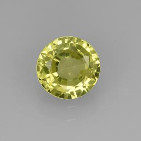 Golden Green Grossularite Garnet Gem - 0.9ct Round Facet (ID: 504776)
