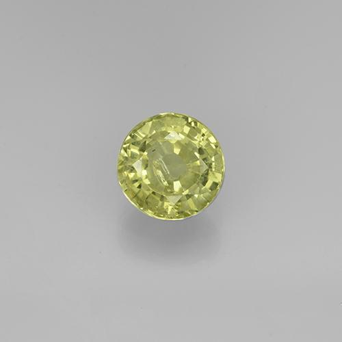 Golden Green Grossularite Garnet Gem - 1ct Round Facet (ID: 504857)
