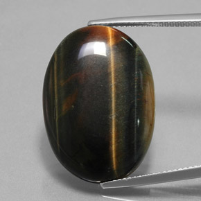 Multicolor Hawk's Eye Gem - 23.4ct Oval Cabochon (ID: 379699)