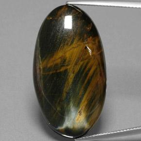 Warm Brown Hawk's Eye Gem - 38.2ct Oval Cabochon (ID: 384682)