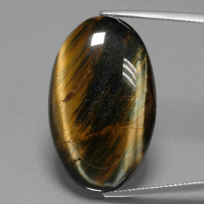 Multicolor Hawk's Eye Gem - 38.5ct Oval Cabochon (ID: 384685)