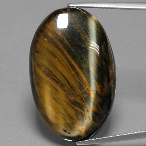 Golden Brown Hawk's Eye Gem - 34.9ct Oval Cabochon (ID: 384686)
