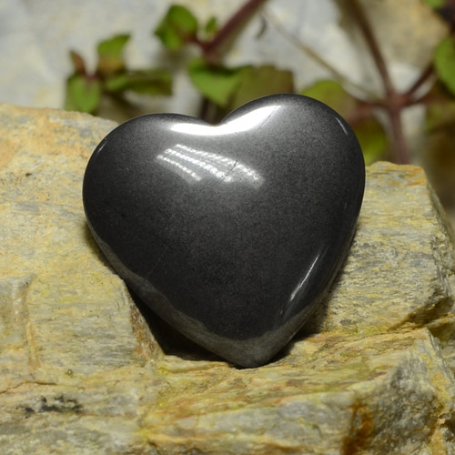 Black Gray Hematite Gem - 22.7ct Heart Cabochon (ID: 273239)