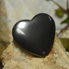 Black Gray Hematite Gem - 23.7ct Heart Cabochon (ID: 273240)