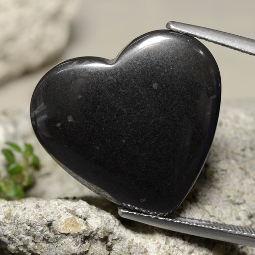 Black Gray Hematite Gem - 24ct Heart Cabochon (ID: 322388)