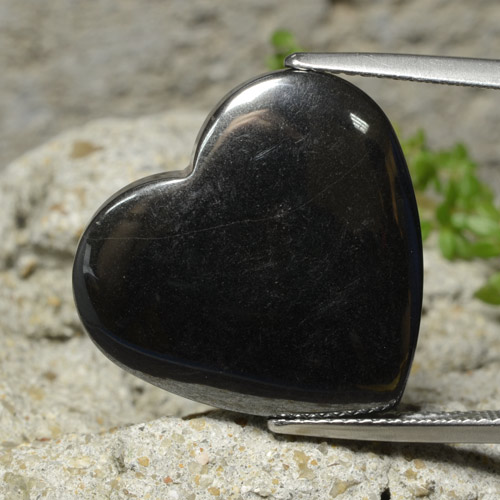 Dark Gray Hematite Gem - 25.8ct Heart Cabochon (ID: 322392)