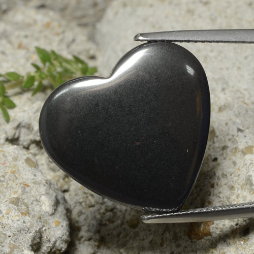 Black Gray Hematite Gem - 23.3ct Heart Cabochon (ID: 322397)
