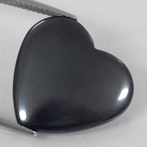 Black Gray Hematite Gem - 22.8ct Heart Cabochon (ID: 322682)