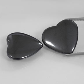 Black Gray Hematite Gem - 23.1ct Heart Cabochon (ID: 342503)