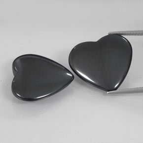 Dark Gray Hematite Gem - 23.3ct Heart Cabochon (ID: 342504)