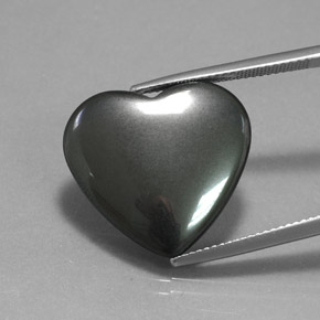 Black Gray Hematite Gem - 22.9ct Heart Cabochon (ID: 369156)