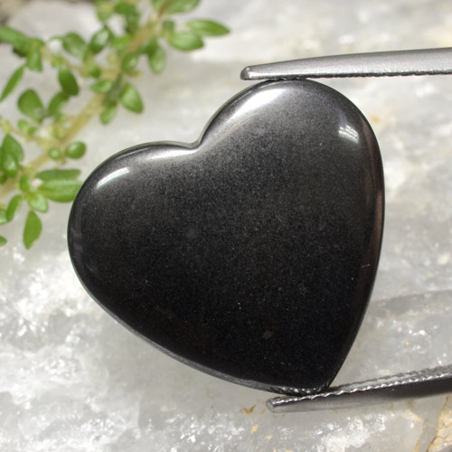 Black Gray Hematite Gem - 23.5ct Heart Cabochon (ID: 470981)