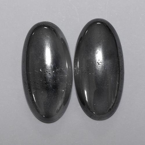 Black Gray Hematite Gem - 9ct Oval Cabochon (ID: 491593)