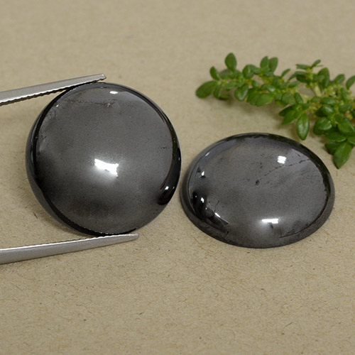 Medium Grey Hematite Gem - 33.3ct Round Cabochon (ID: 491708)