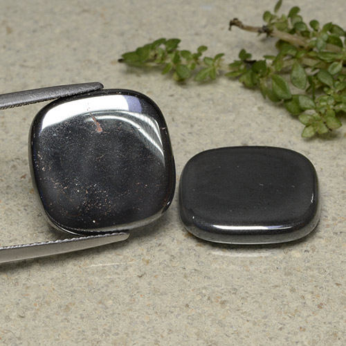 Dark Gray Hematite Gem - 13.2ct Cushion Cabochon (ID: 491767)