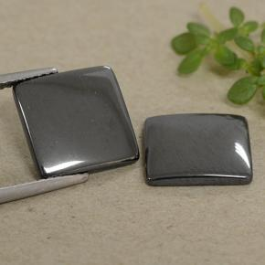 Black Gray Hematite Gem - 5.1ct Square Cabochon (ID: 491878)