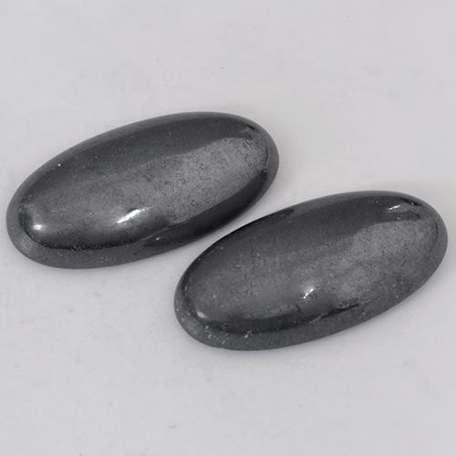 Black Gray Hematite Gem - 9ct Oval Cabochon (ID: 491916)