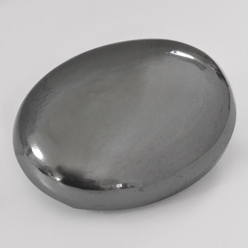Silver Gray Hematite Gem - 33.5ct Oval Cabochon (ID: 515855)