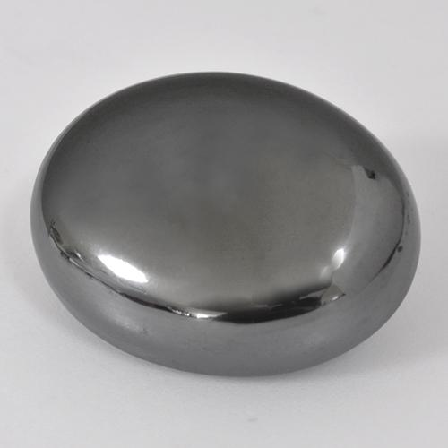Black Gray Hematite Gem - 38.4ct Oval Cabochon (ID: 515860)