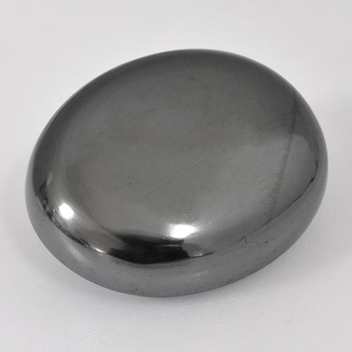 Silver Gray Hematite Gem - 25.5ct Oval Cabochon (ID: 515861)