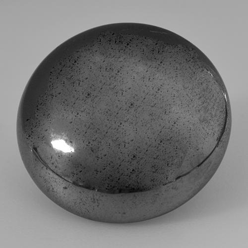 Medium Grey Hematite Gem - 32.8ct Round Cabochon (ID: 517452)