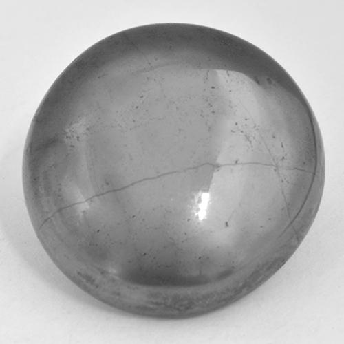 Medium Gray Hematite Gem - 34.3ct Round Cabochon (ID: 519795)
