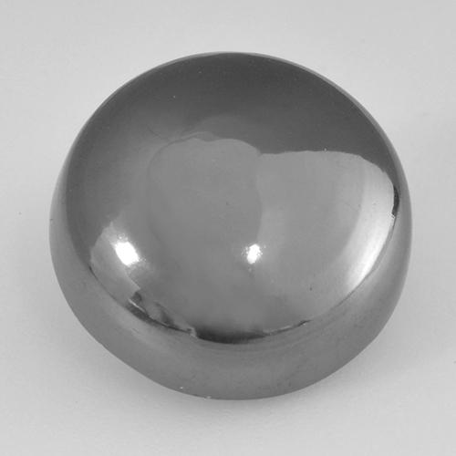 Medium Gray Hematite Gem - 21.3ct Round Cabochon (ID: 519998)