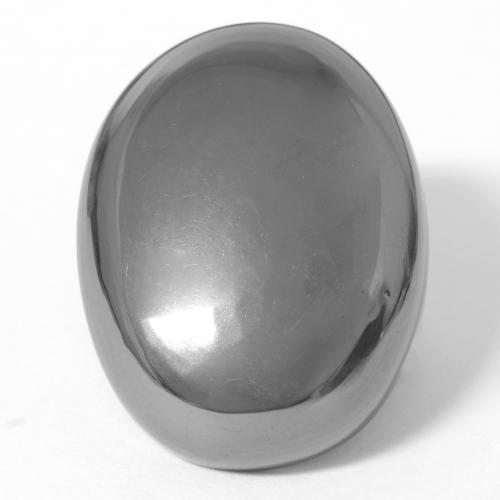 Silver Gray Hematite Gem - 35.9ct Oval Cabochon (ID: 546357)
