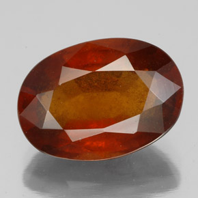 Deep Orange Hessonite Garnet Gem - 6.6ct Oval Facet (ID: 333541)