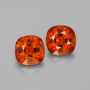 Reddish Orange Hessonite Garnet Gem - 1.7ct Cushion-Cut (ID: 338378)