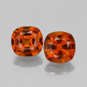 1.5ct Cushion-Cut Medium Orange Hessonite Garnet Gem (ID: 338678)