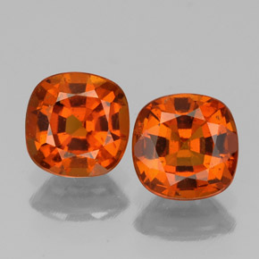 1ct Cushion-Cut Amber Orange Hessonite Garnet Gem (ID: 338860)