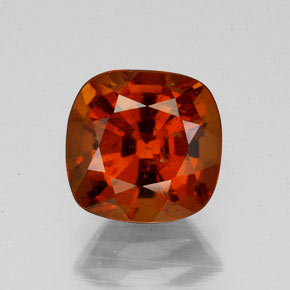 2.43 ct Cushion-Cut Cinnamon Orange Hessonite Garnet Gem 7.78 mm x 7.7 mm (Photo A)