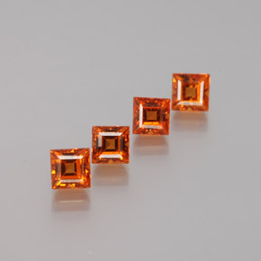 Orange Hessonite Garnet Gem - 0.4ct Square Facet (ID: 381115)