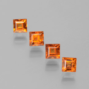 Orange Hessonite Garnet Gem - 0.4ct Square Facet (ID: 381190)