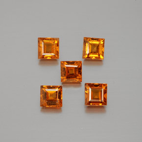 Medium-Dark Orange Granate Hesonita Gema - 0.4ct Forma cuadrada (ID: 381262)