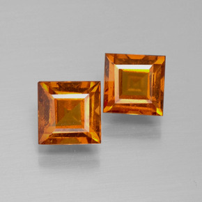 Cinnamon Orange Hessonite Garnet Gem - 1.2ct Square Facet (ID: 392574)